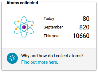 Counter keeping track of how many atoms you've collected.